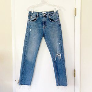 Zara High Rise Raw Hem Ankle Straight Slim Jeans